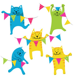 Happy birhday cats set vector
