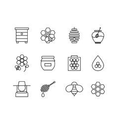 Honey thin line icons set vector