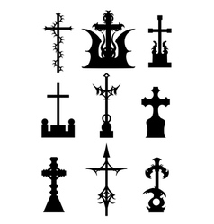 Horror silhouettes of cemetery crosses set vector