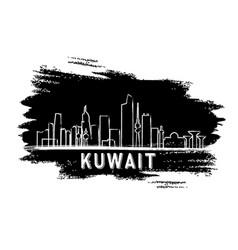 Kuwait skyline silhouette hand drawn sketch vector