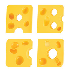 Letters from pieces of cheese a b c d vector