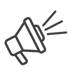 Loudspeaker line icon megaphone and website vector