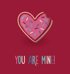 Love card with heart shape bitten cookie vector