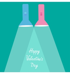 Pink flashlights with rays of light Valentines Day vector image
