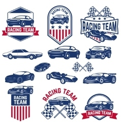 Racing team set of the cars icons vector