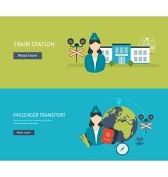 Railway station concept passenger transport vector