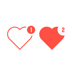 red hearts icons like notification vector image vector image
