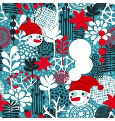 Seamless pattern with snowman and flowers vector image vector image