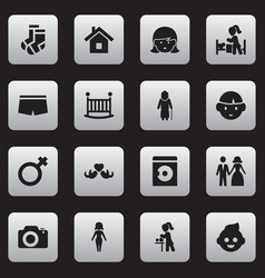 set of 16 editable family icons includes symbols vector image vector image