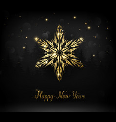 Shining gold texture snowflake on the black vector