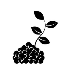 Storm brain with leafs plant isolated icon vector