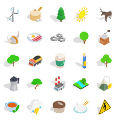 sweden culture icons set isometric style vector image vector image