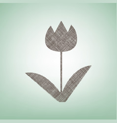 tulip sign brown flax icon on green vector image vector image