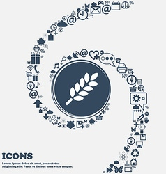Wheat Ears Icon in the center Around the many vector image vector image