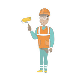 Young hispanic house painter holding paint roller vector