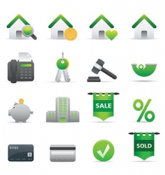 12 green real state icons vector image