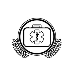 Monochrome firts aid kit with symbol star of life vector