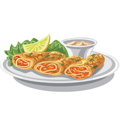 pancakes with salmon vector image