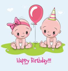 Greeting birthday card vector