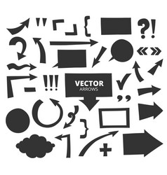 Set of hand drawn arrows and cartoon design vector