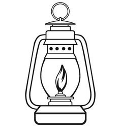 Old dusty oil lamp vector