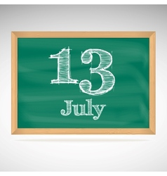 July 13 day calendar school board date vector