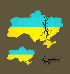 Map of ukraine with crack vector