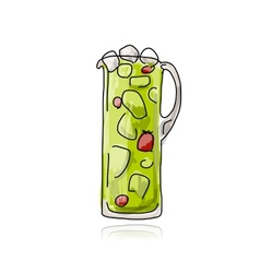 Strawberry cocktail in jug sketch for your design vector
