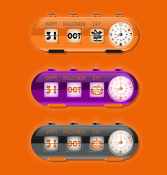 Halloween day with flap clocks and number counter vector