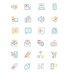 Communication colored outline icons 3 vector