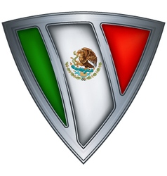 Steel shield with flag mexico vector