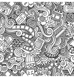 Cartoon doodles cinema seamless pattern vector