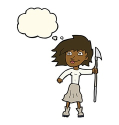 Cartoon woman with spear with thought bubble vector
