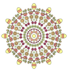 Adult coloring book page spring easter mandala vector