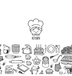 Kitchen utensils and appliance horizontal banner vector