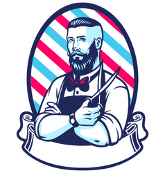 Barber with pole hair scissors retro vector