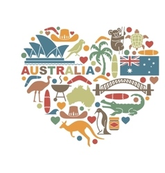 Symbols of australia in the shape of a heart vector