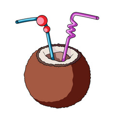 a cocktail in coconut with tubessummer rest vector image