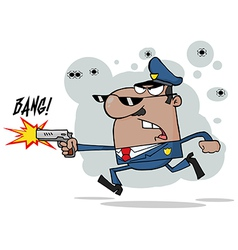 African American Police Man Running With A Gun vector image