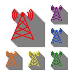 antenna sign set of red orange vector image vector image
