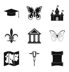 antiquity icons set simple style vector image