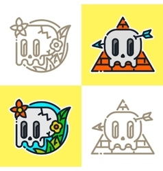 Cartoon graphic line art style mexican skull vector