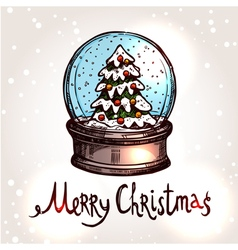 Christmas card with hand drawn snowglobe vector