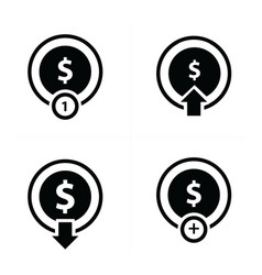 Coin and bubbles icon set vector