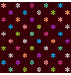 Dark seamless pattern with multicolor snowflakes vector image vector image