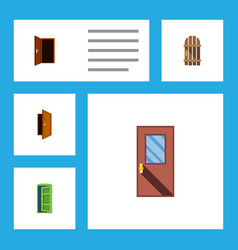 flat icon door set of approach frame door and vector image vector image