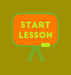 Flat icon on background board start lesson vector