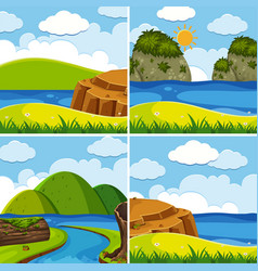 Four scenes of river and lake at day time vector