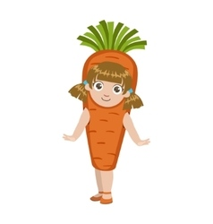 Girl Dressed As Carrot vector image vector image