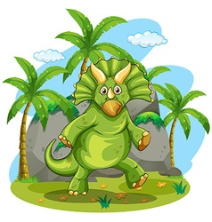 Green dinosaur standing on two feet vector